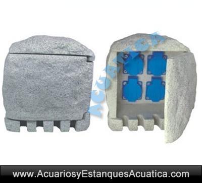 cuadro-electrico/cuadro-electrico-externo-electricidad-enchufes-x-4-estanque-jardin-exterior-simil-piedra-estanco