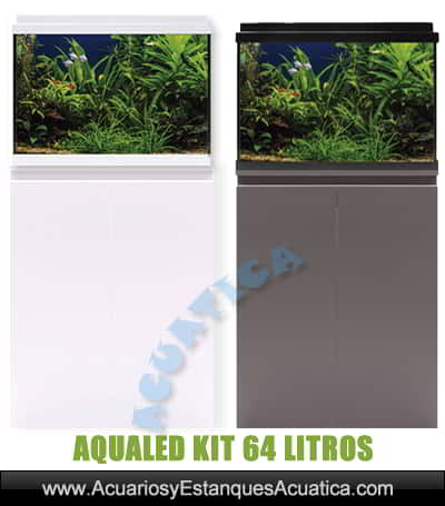 venta-de-acuarios-completo-dulce-plantado-Aqualed-ica-icasa-Blanco-64-litros-mueble-gris