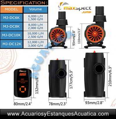 maxspect-jump-pump-bomba-acuario-sump-marino-dulce-silenciosa-regulable-sumergible-controlador-medidas-dimensiones