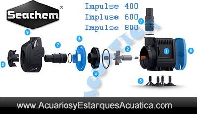 bomba-acuario-estanque-seachem-impulse-400-600-800-circulacion-sump-cascada-hidroponia-filtracion-enfriador-marino-dulce-partes