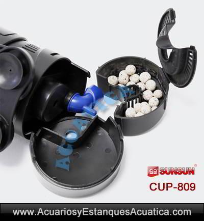 sunsun-cup-809-9w-uv-ultravioleta-con-bomba-filtro-sumergible-agua-verde-algas-detalle-material filtrante