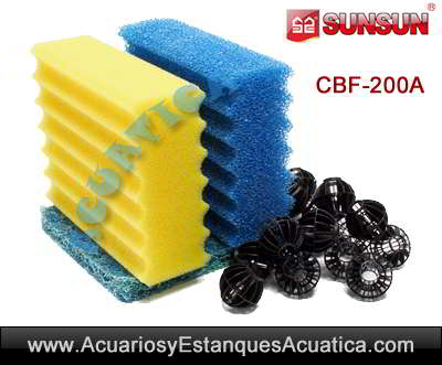 SUNSUN-CBF200A-filtro-estanque-estera-japonesa-esponja-foamex-bio-bolas-material-filtrante